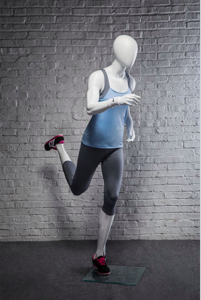 Pam, Fiberglass Athletic Abstract Egg Head Matte White Female Running Mannequin MM-PB4W02